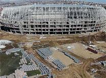 """Gençlik ve Spor Bakanlığı ile Başbakanlık  Toplu Konut İdaresi Başkanlığı iş birliğinde Sivas'ta yapımına başlanan  """"Türkiye'nin ilk ekolojik stadı""""nın kaba inşaatı tamamlandı."""