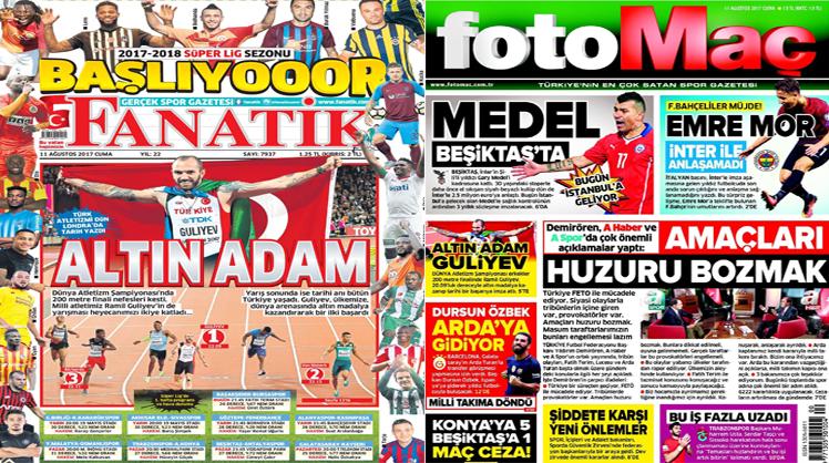 11 Ağustos 2017 gazete manşetleri