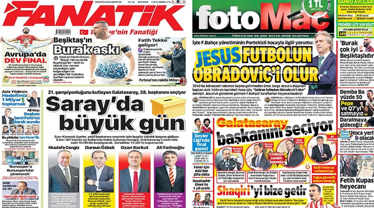 26 Mayıs 2018 gazete manşetleri
