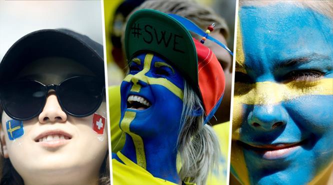 İsveç - İsviçre maçında tribünler rengarenk