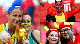 Brezilya ve Belçika tribünleri rengarenk!