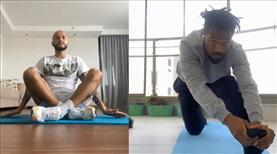 Antrenmanda yoga yaptı