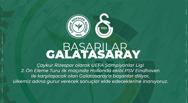 Rizespor, Galatasaray'a başarılar diledi